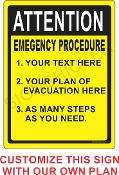 Emergency Procedure Sign CUSTOMIZE THIS SIGN!