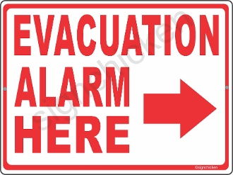 Evacuation Alarm w/ Arrow CUSTOMIZE THIS SIGN