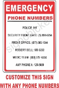 Emergency Phone Numbers CUSTOMIZE THIS SIGN