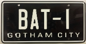 BAT-1   Batman, Batmobile, Gotham City, License plate *EMBOSSED*