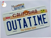 OUTATIME, Back to the Future, License Plate with Key Chain
