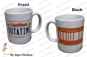 OUTATIME Coffee Mug with BAR CODE PLATE