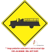 Fire Truck Caution Sign
