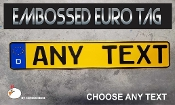 German Euro License Plate - Embossed - Blue  & Yellow - D
