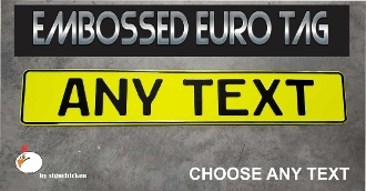 German Euro License Plate - Embossed - NEON YELLOW